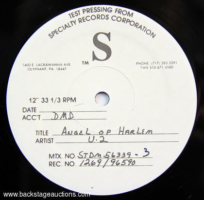 "1988 U2 ""Angel of Harlem"" Rare Test Pressing"
