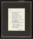 1031: The Beatles John Lennon 1995 'Bungalow Bill' Framed Bag One Arts Lyric Sheet