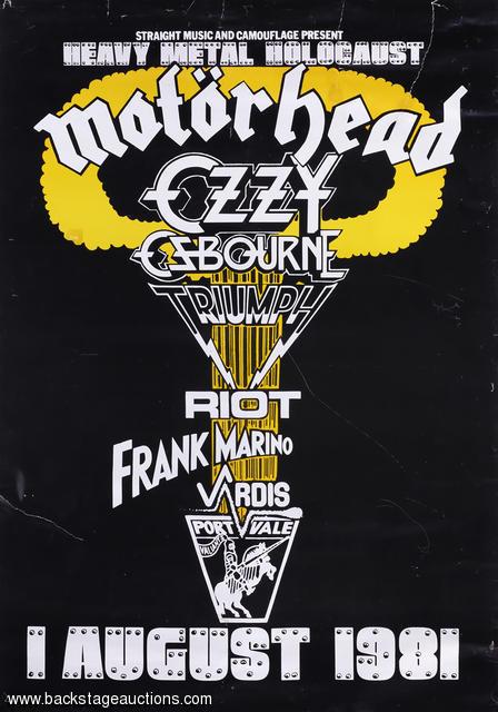 Heavy Metal Holocaust 1981 Festival Concert Poster Motorhead Ozzy Osbourne Store Backstage Auctions Inc