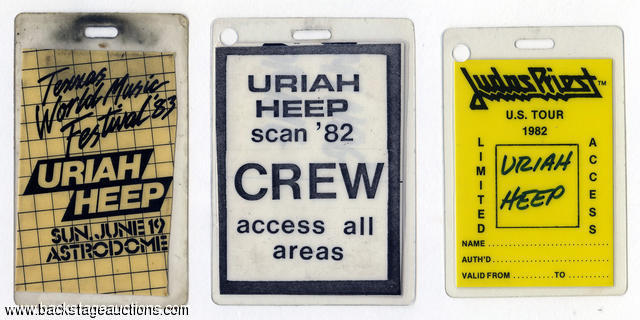 Uriah Heep 1982 - 1983 Lot of 3 Laminated Backstage Passes